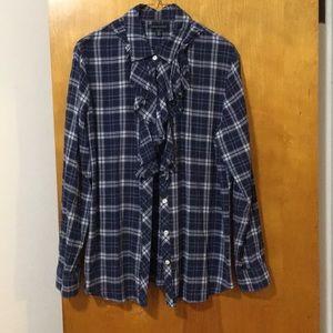 Banana Republic ruffled collar flannel shirt